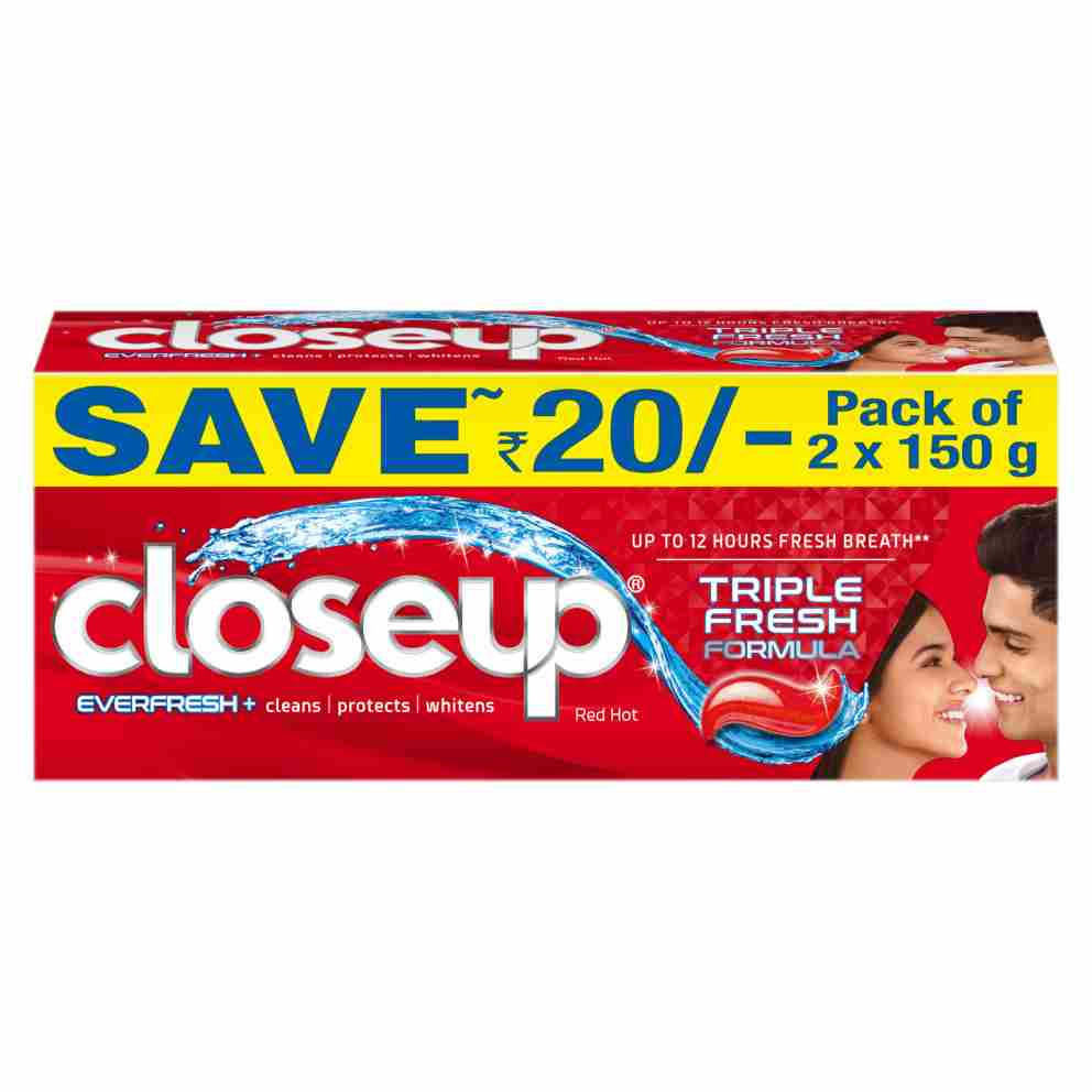 Closeup Triple Fresh Formula Anti-Germ Gel Toothpaste Red Hot 300g front of pack
